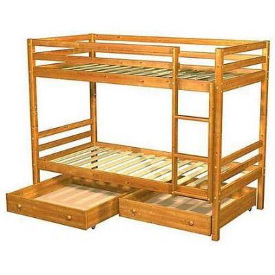 Детская Двухъярусная Кровать Симпл из Натурального Дерева с Ящиками