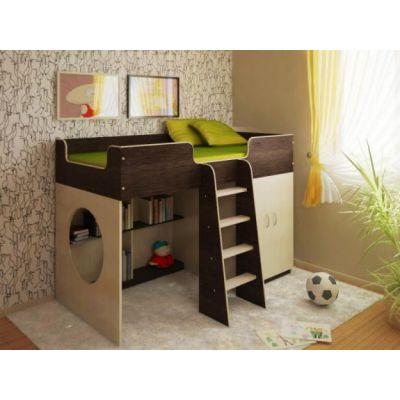 Детская кровать-чердак Стелла из ДСП с игровой зоной и шкафом