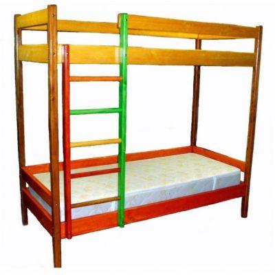 Двухъярусная Кровать Маринка из Натурального Дерева с Лестницей