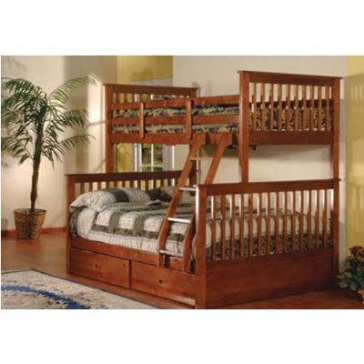Двухъярусная Трехспальная Кровать Буратино17 из Дерева