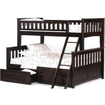 Двухъярусная Трехспальная Кровать Буратино18 из Дерева с Ящиками