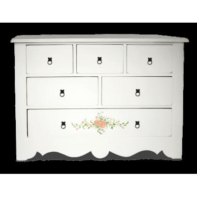 Комод Montagnarde Белый с ручной росписью